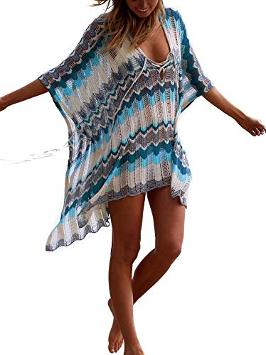 Women's Bathing Suit Cover Up for Beach Pool Swimwear Crochet Dress (Blue Stripe, L)