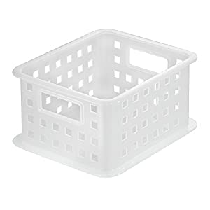 InterDesign Storage Organizer Basket, for Bathroom, Health and Beauty Products, Bath Towels - Small, Frost
