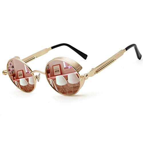 ZOGEEN Polarized Steampunk Round Sunglasses for Men Women Mirrored Lens Metal Frame S2671 (Pink Mirror)