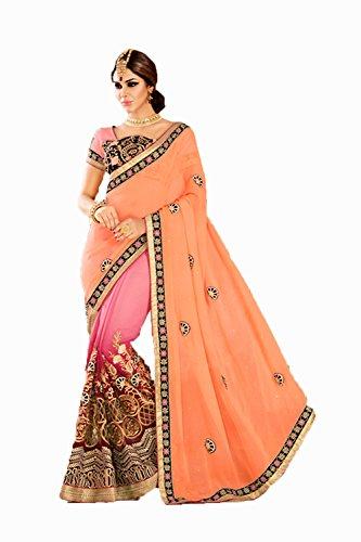 Da Facioun Rose Pink Saree With Embroidered Pallu 75834