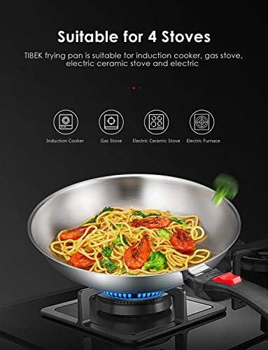 Tibek Sartén de Acero Inoxidable de 28 cm con Mango Desmontable para Acampar, Sartén Inox para todos tipos de cocina incluida la inducción