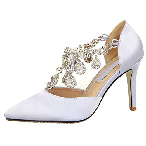 HooH Damen Abnehmbar Diamanten Hochzeit Abendschuhe Pumps Weiß