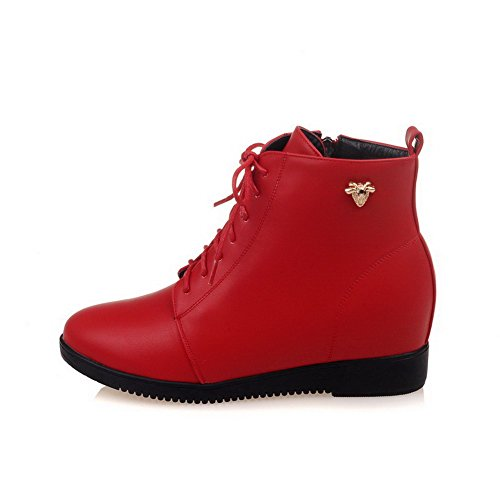 AllhqFashion Womens Round Closed Toe Low-Top Low-Heels Solid PU Boots Red 44cKyN
