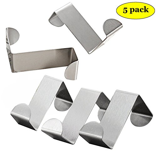 Hamosky Over Door Hook Coat Hooks Rack Heavy Duty Reversible Brushed Stainless Steel 5 Pcs (3x4.5cmx6cm)