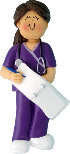Ornament Central OC-230-FBR Female Scrubs Nurse Christmas Ornament, 4-1/4-Inch, Brown