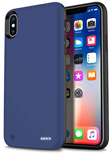 iPhone X Battery Case,Ymicomice Super Thin Lightweight 4000mAh iPhone X Case Battery Magnetic Suction Function, Rechargeable External Battery Portable Power Charger Case iPhone X ... (Blue)