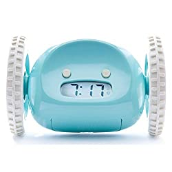 Clocky Alarm Clock on Wheels (Original) | Loudest for Heavy Sleeper (Adult or Kid Bed-Room Robot Clockie) Funny, Rolling, Run-away, Moving, Jumping (Blue)