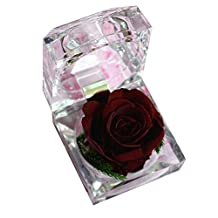 DeFancy Handmade Preserved Flower Rose with Acrylic Crystal Ring Box for Proposal Engagement (Wine)