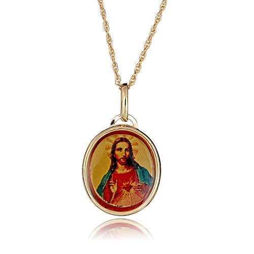 (AVORA 14K Yellow Gold Enamel Sacred Heart of Jesus Religious Pendant Necklace with 18