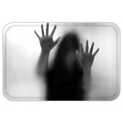 VROSELV Custom Door MatHorror House Decor Silhouette of Woman behind the Veil Scared to Death Obscured Paranormal Photo Gray by VROSELV