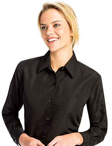 Microfiber Blouse - Luxe Microfiber Women's Button-Down Long Sleeve Shirt Regular Fit Point Collar - Style Becky