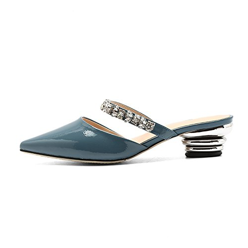 Perezosos Diamante Unidos Mujer Zapatillas Forro New Puntiagudos Y Tendencia Sandalias Estados Yxlong Tela Blue Con Verano Europa Zapatos Summer De 1nB6f4wxT