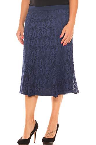 Pantorrilla Falda Para Avellanada Maxi Encaje Azul Talla Mujer Oscuro In Moda De Media wSxOt