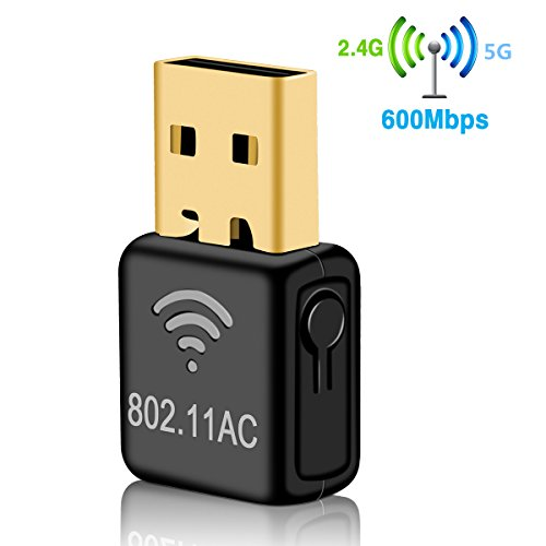 Wonsidary USB Wifi Adapter, AC 600Mbps Dual Band(5GHz/433Mbps + 2.4GHz/150Mbps) Wireless Network Dongle for Laptop Destop Windows XP/Vista/7/8/10, Mac OS X 10.6-10.13 (Mini 600Mbps) by Wonsidary