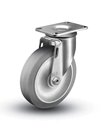 "1 Colson Swivel Caster w 5"" TPE Gray Soft Rubber Wheel"