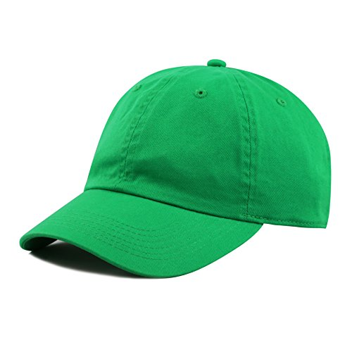 (THE HAT DEPOT Kids Washed Low Profile Cotton and Denim Plain Baseball Cap Hat (Kelly Green))