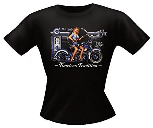 T-Shirt für Damen mit Biker Aufdruck - Timeless Tradition - Biker Ladyshirt auch als Geschenk möglich - Schwarz