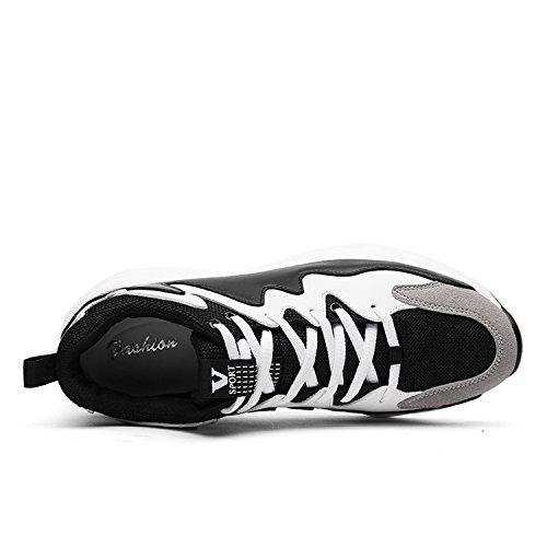 MOOKEY Sports Shoes Men Black White Running Spring Tennis Mesh Sports Shoes Black NClI14