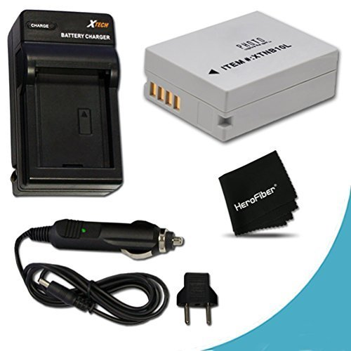 High Capacity Replacement Canon NB-10L / NB10L Battery and AC/DC Charger for Canon PowerShot SX60 HS, SX50 HS, SX40 HS, G1 X, G16, G15, Digital Cameras