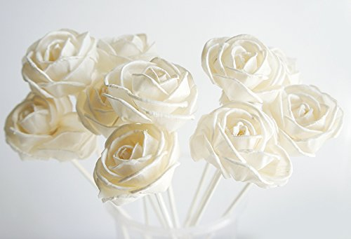 Exotic Plawanature Set of 10 Rose Curl Design 1.5 Inch Sola Wood Flower with Reed Diffuser for Home Fragrance Aroma Oil. by Exotic Aroma (Image #2)