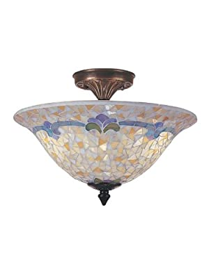 Dale Tiffany TM100553 Johana Mosaic Flush Mount Light, Antique Brass and Art Glass Shade