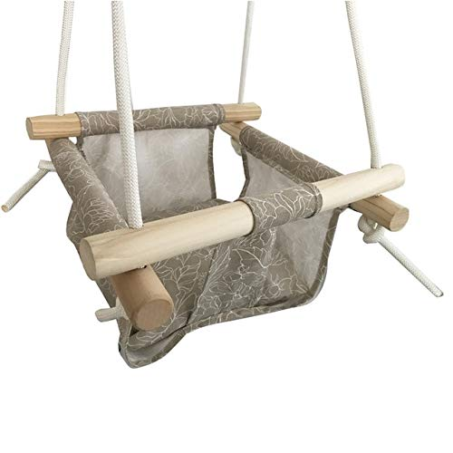 Kaki - Baby Swing Hammock Seat Set Canvas Hanging Chair with Cushion Todder Outdoor Indoor Garden Wooden Swing Rocker Load Bearing 50kg