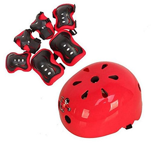 1set 7PCS 6-14 Years Old Children Adjustable Skating Safeguard Support Knee Pads Elbow Pads Wrister Bracers Helmet Safety Protection Gear For Sports Outdoor Ice Skate Skateboard (Red)