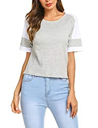 Se Miu Women Reglan Baseball Tee Round Neck Tunic Striped Blouse Shirt Grey M