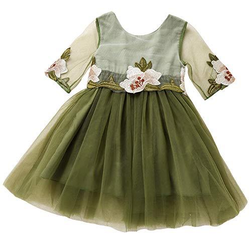 Costume Bébé Fée Petites Filles Moitié Manches Broderie Fleur Tutu Taille Robe De Princesse 2-3t (blanc) Vert