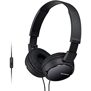 Sony MDR-ZX110AP Wired On-Ear Headphones with tangle free cable, 3.5mm Jack, Headset with Mic for phone calls and 1 Year…