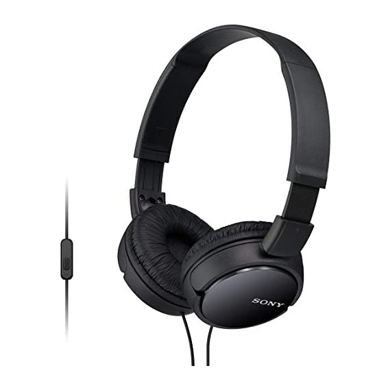 Sony MDR-ZX110AP Wired On-Ear Headphones with tangle free cable, 3.5mm Jack, Headset with Mic for phone calls and 1 Year
