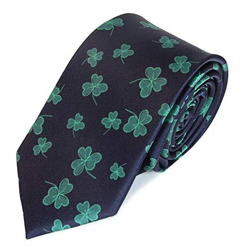 SpotLight Hosiery St. Patrick's Day Irish Theme Green Clover Shamrocks Navy Blue Neck Tie Regular