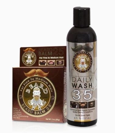 Beard Guyz Beard Daily Wash 35 and Beard Balm 25 for Fine/Med Hair Set