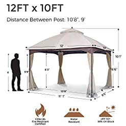 Garden and Outdoor AsterOutdoor 10×12 Outdoor Gazebo for Patios Canopy for Shade and Rain with Mosquito Netting, Waterproof Soft Top Metal… pergolas