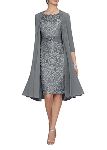 - Women's Sexy Lace Chiffon Mother of The Bride Evening Dress with Jacket Gray US18W