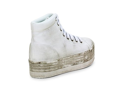 JC PLAY BY JEFFREY CAMPBELL HOMG WASHED CANVAS WHITE