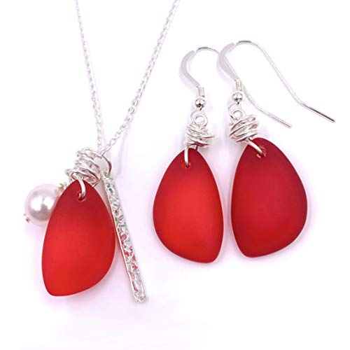 Set Gorgeous Sunset Love Red Sea Glass and Sterling Silver Charm Necklace Set, by Aimee Tresor