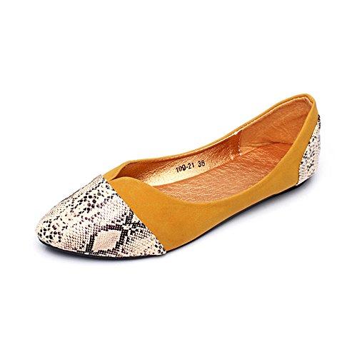 Low Pumps Yellow Pointed Glitter Leopard Womens Pleated Heel Toe Ballerina T6zZUqX