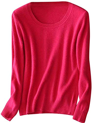 SANGTREE Women's Long Sleeve Crewneck Plain Basic Cashmere Pullover Knit Sweater, Hot Pink, Tag 4XL = US L (14)