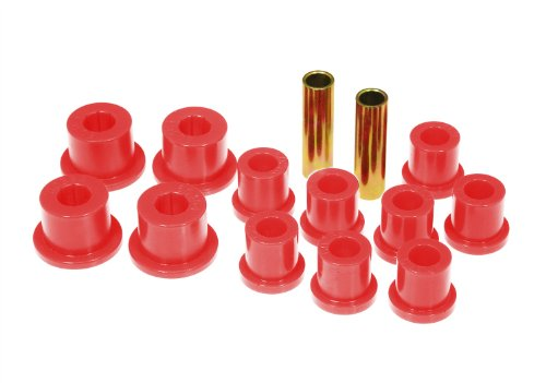 Prothane 18-1002 Red Rear Spring Eye and Shackle Bushing Kit