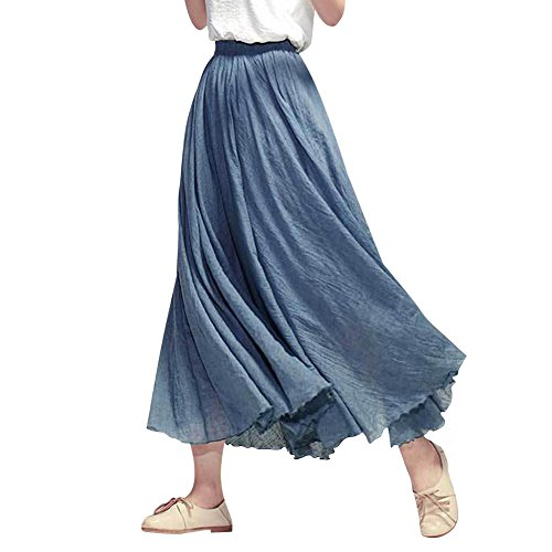 Grande Maxi Falda Boho Plisadas De Cintura Noche Fiesta Falda Azul Larga Elástica De Elegante Mujer Vestido De Vestidos Playa Boda qUSzwx