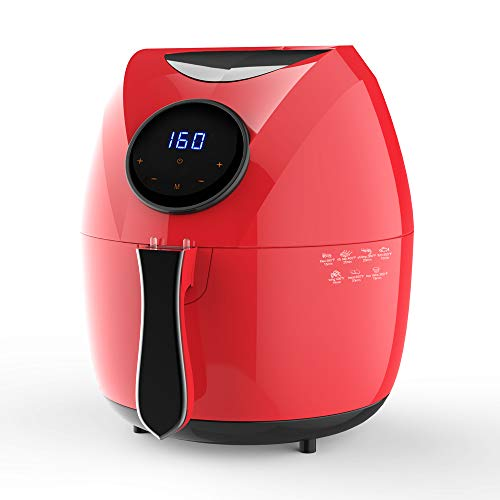 KAPAS Electric Air Fryer, 4.8 Quarts, 4.5 Litre Capacity and 7-in-1 One-Touch Screen Cook Presets with Additional Accessory (Red)