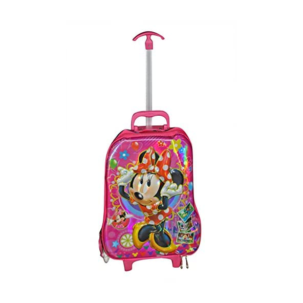 BABY STATION Polycarbonate 3D Mickey Design Children's Hybrid Trolley-School T-Bags (Pink)