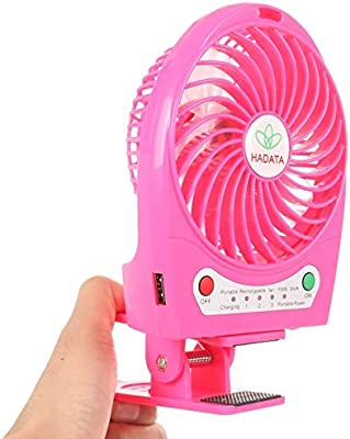 Portable Electric Fan Color : Magenta 4.3 Inch Portable USB//Li-ion Battery Powered Rechargeable Fan with Third Wind Gear Adjustment /& Clip,for Air Cooler