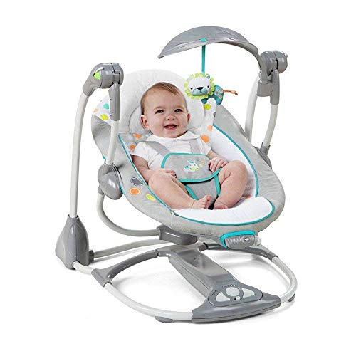 HPCZZ Chair Bouncers Reclining Chairs Soothing Vibration Baby Rocking Chair Multifunctional Music Electric Swing Portable Folding Baby Comfort Rocking Chair Shaker,Grey