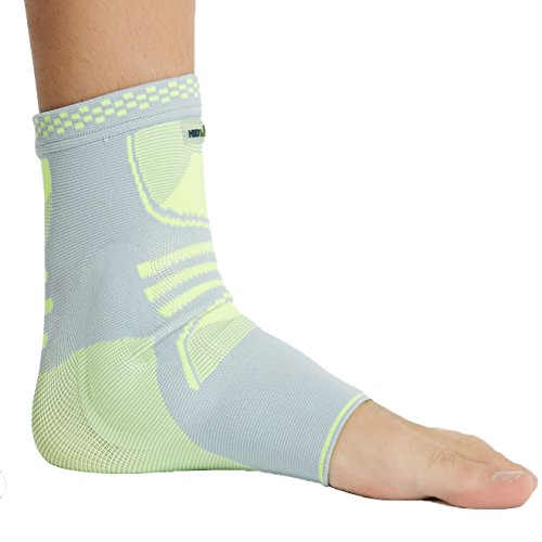 Neotech Care Ankle Support with Silicone Gel Pad Insert – Lightweight, Elastic & Breathable Knitted Fabric Compression Sleeve – Right or Left Foot, Men Women – Grey Color (Size M)