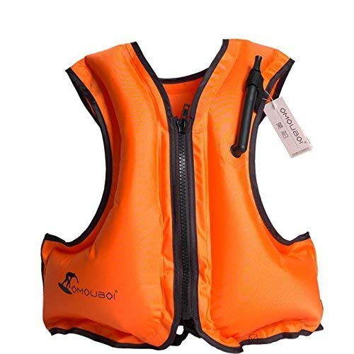 Kingswell Adult Inflatable Swim Vest, Portable Snorkel Vest Life Jacket Buoyancy Safety For Snorkeling, Free Diving, Swimming - Orange
