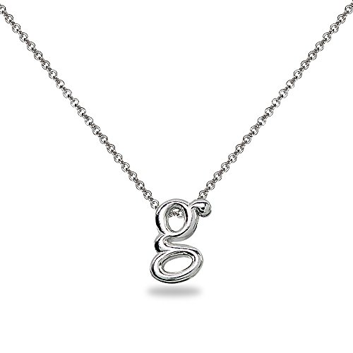 "Initial Pendant Silver Sterling (Sterling Silver G Letter Initial Alphabet Name Personalized Pendant Necklace, 15"" + Extender)"