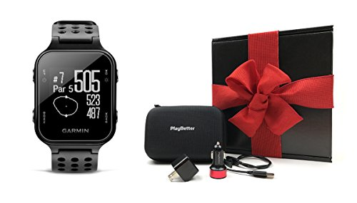 Garmin Approach S20 (Black) Gift Box Bundle | Includes Garmin Golf GPS Watch/Activity Tracker, PlayBetter USB Car & Wall Charging Adapters, Protective Hard Carrying Case