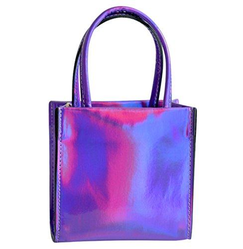 Hologram PU Leather Shoulder Tote Bag Small Shoulder Bag Casual Handbag